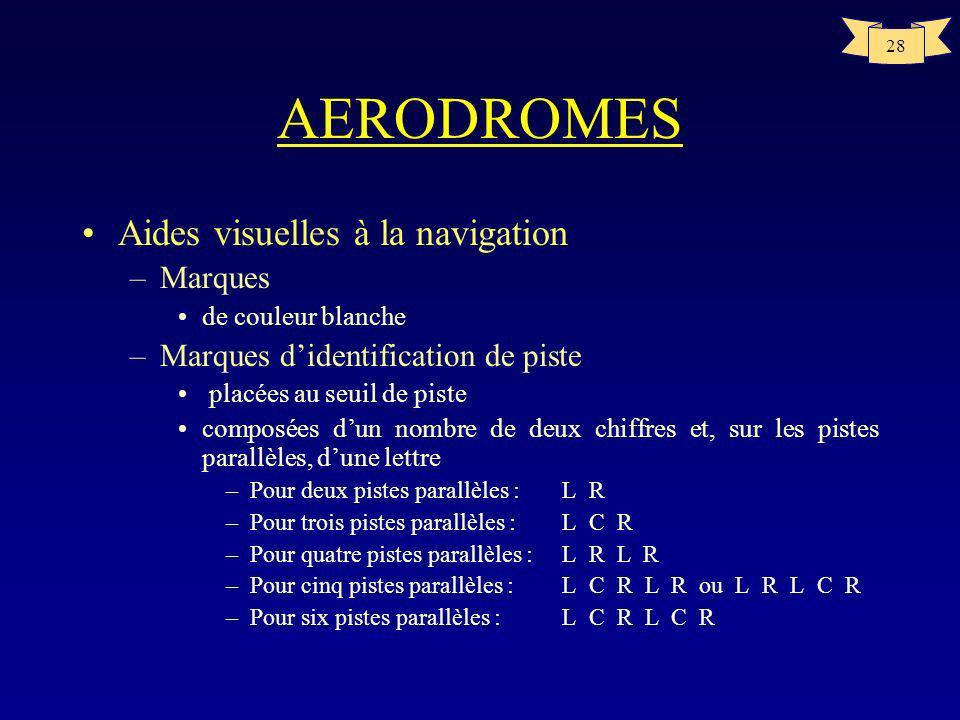 27 AERODROMES Aides visuelles à la navigation –Indicateurs et dispositifs de signalisation indicateur de direction du vent au moins –éclairé si laérod