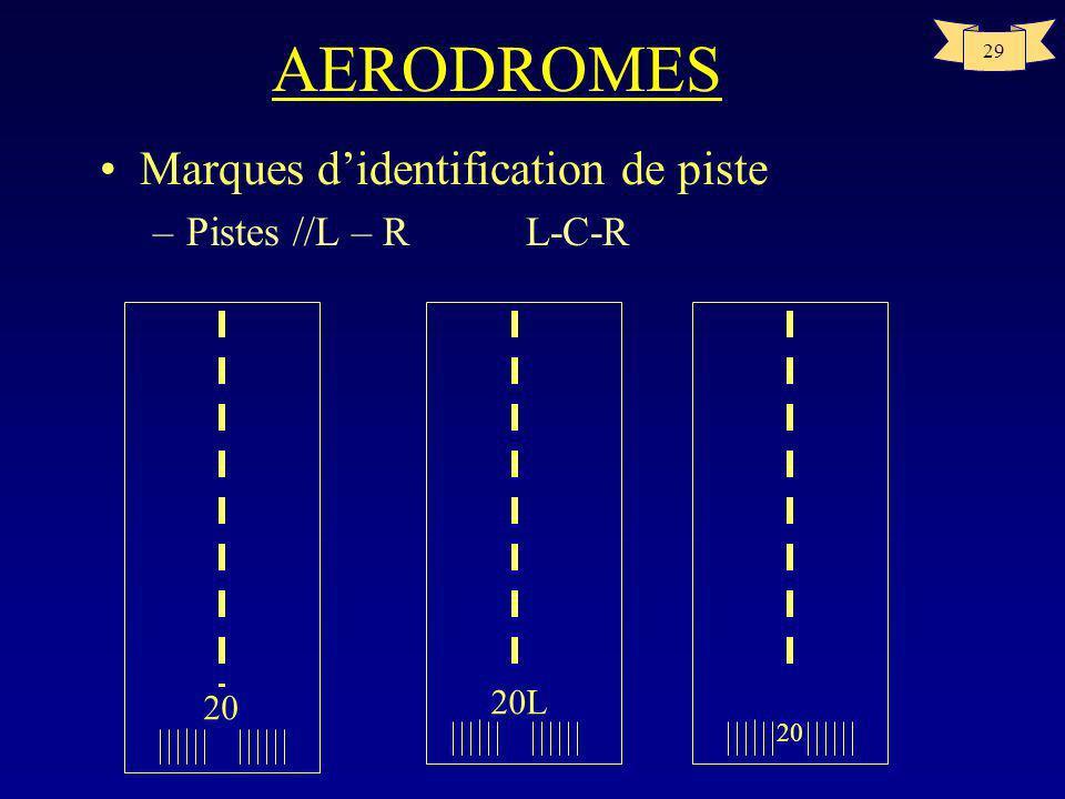 28 AERODROMES Aides visuelles à la navigation –Marques de couleur blanche –Marques didentification de piste placées au seuil de piste composées dun no