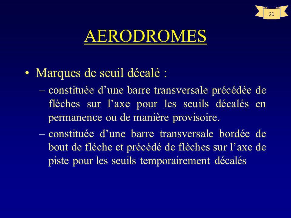 30 AERODROMES Nombre de bandes symétriques / axe de piste Largeur de pisteNb de bandes 18m4 23m6 30m8 45m12 60m16