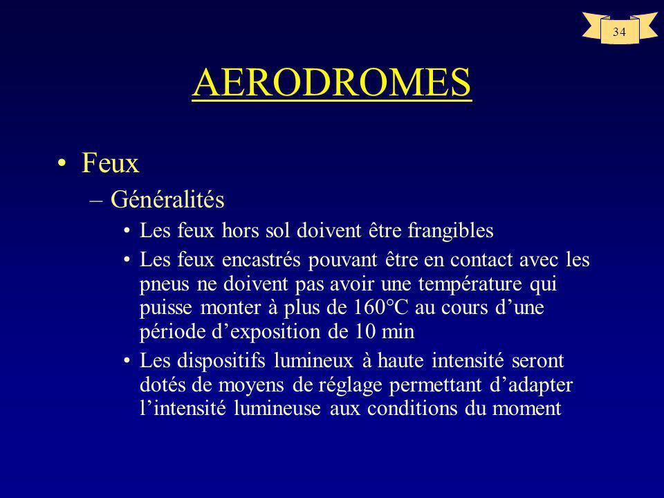 33 AERODROMES Marques et point de vérification VOR –sera centrée sur un point où un aéronef doit se trouver pour recevoir le signal VOR correct –sera
