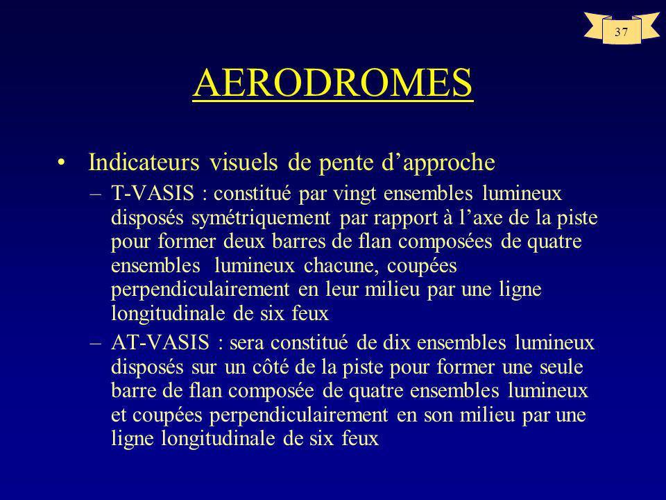 36 AERODROMES Indicateurs visuels de pente dapproche –Il sera installé si : la piste est utilisée par des turboréacteurs ou autres avions nécessitent