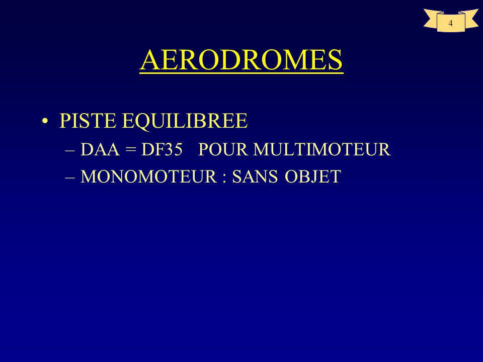 3 AERODROMES DISTANCE DE REFERENCE –longueur minimale nécessaire pour le décollage au poids maximal certifié au décollage, au niveau de la mer, dans l
