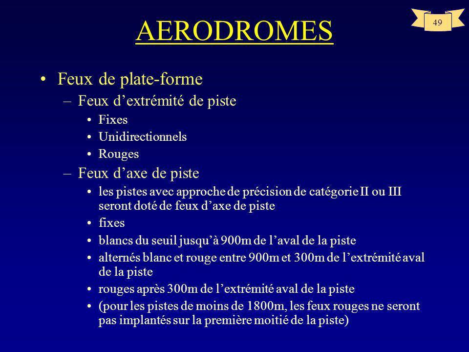 48 AERODROMES Feux de plate-forme –Feux de bord de piste tous les 60m au plus pour une piste aux instruments tous les 100m au plus pour une piste à vu
