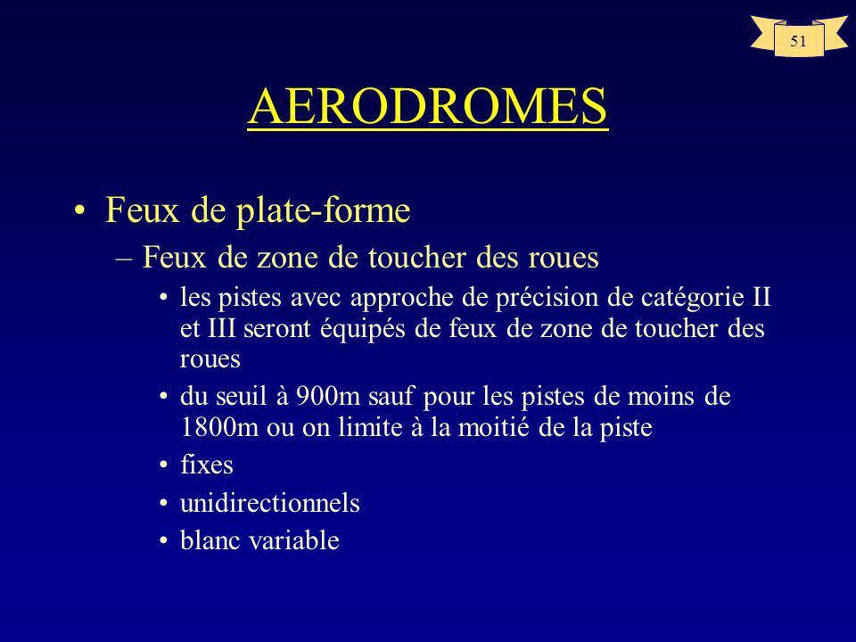 50 AERODROMES FEUX DE PISTE seuil extrémité taxiway 300m 9OOm ou mi-piste CE SCHEMA NEST PAS A LECHELLE