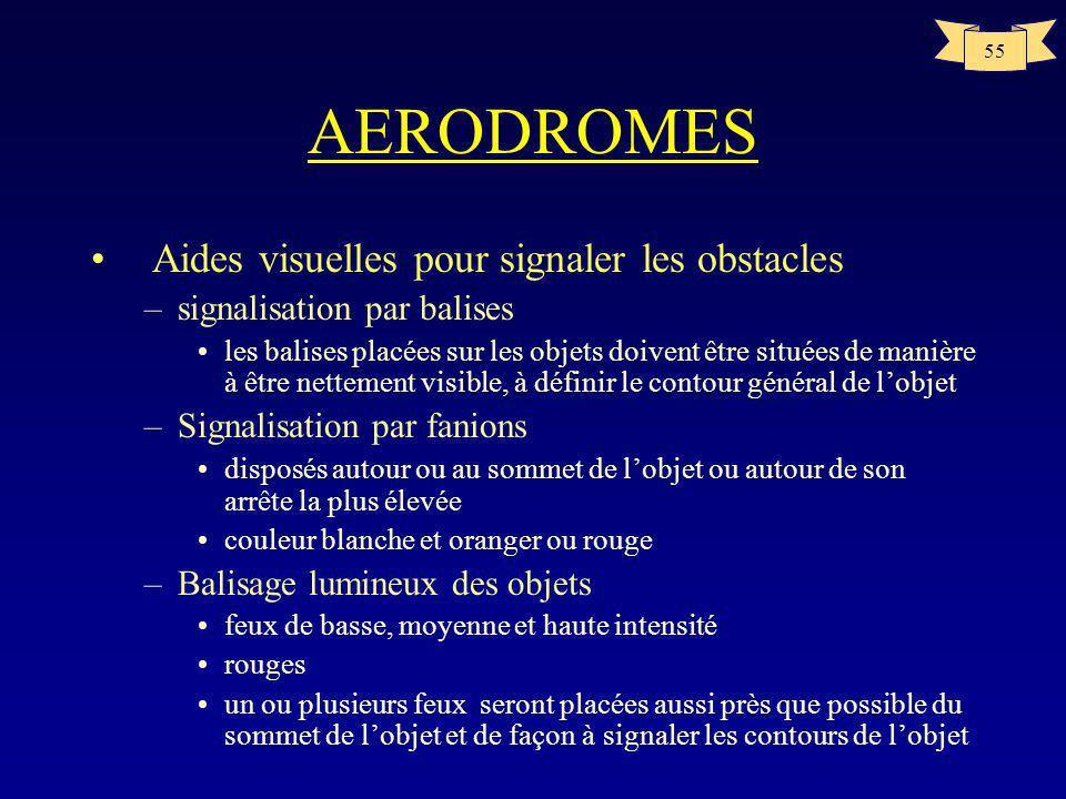 54 AERODROMES Aides visuelles pour signaler les obstacles –Signalisation par couleurs damier de couleur de minimum 4m50 par 4m50 –Il est recommandé du