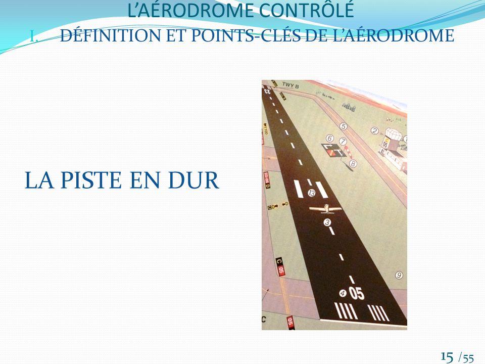 LAÉRODROME CONTRÔLÉ /55 15 I. DÉFINITION ET POINTS-CLÉS DE LAÉRODROME LA PISTE EN DUR