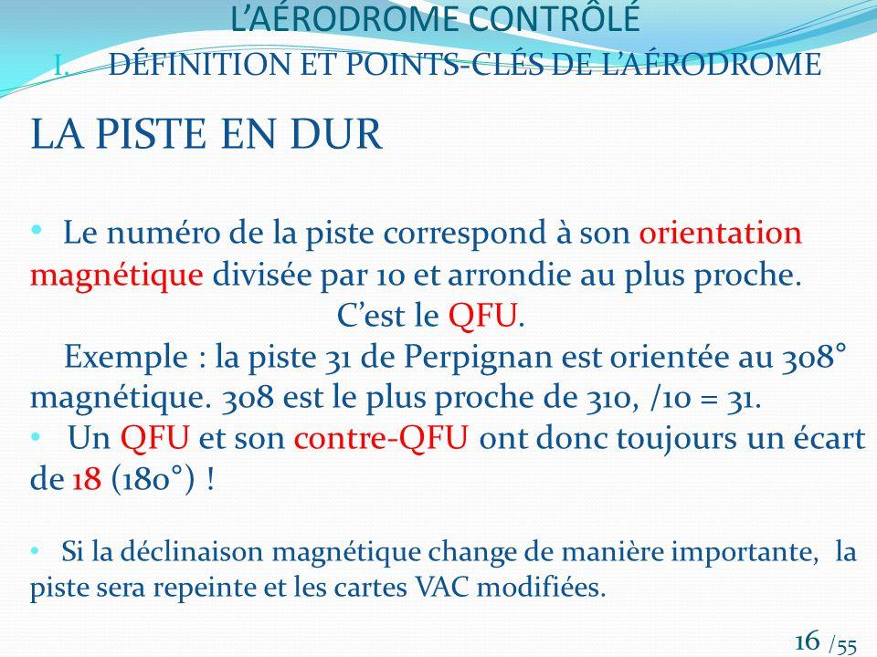 LAÉRODROME CONTRÔLÉ /55 16 I. DÉFINITION ET POINTS-CLÉS DE LAÉRODROME LA PISTE EN DUR Le numéro de la piste correspond à son orientation magnétique di