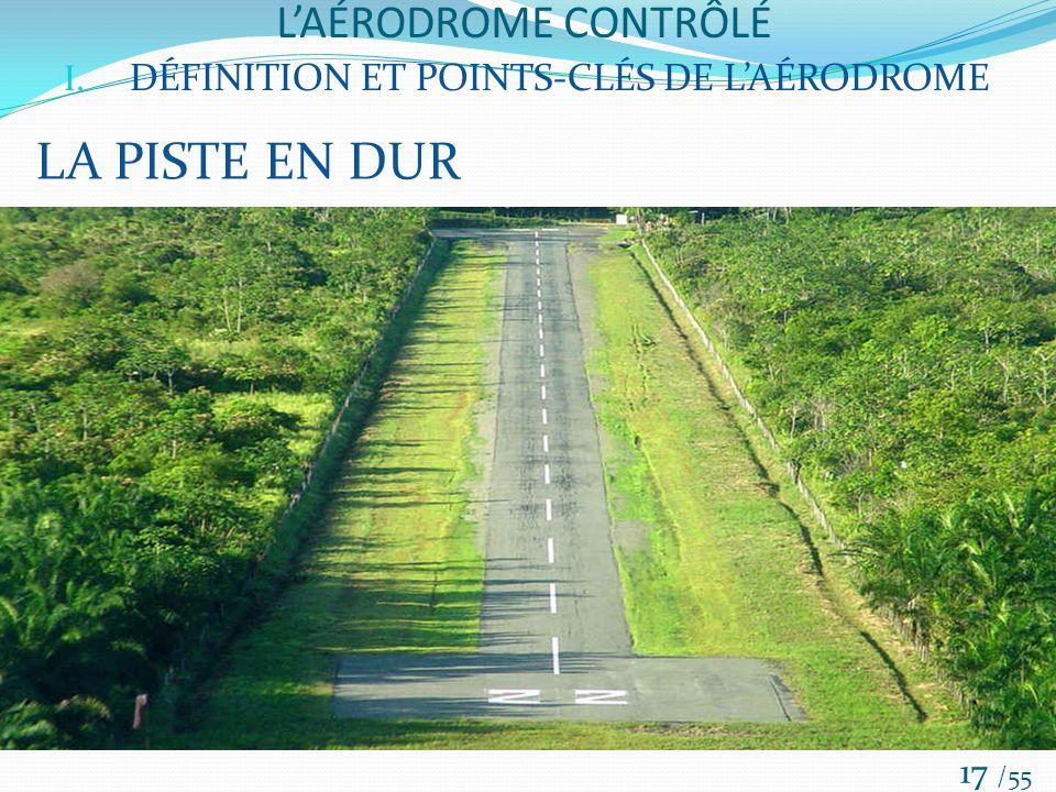 LAÉRODROME CONTRÔLÉ /55 17 I. DÉFINITION ET POINTS-CLÉS DE LAÉRODROME LA PISTE EN DUR