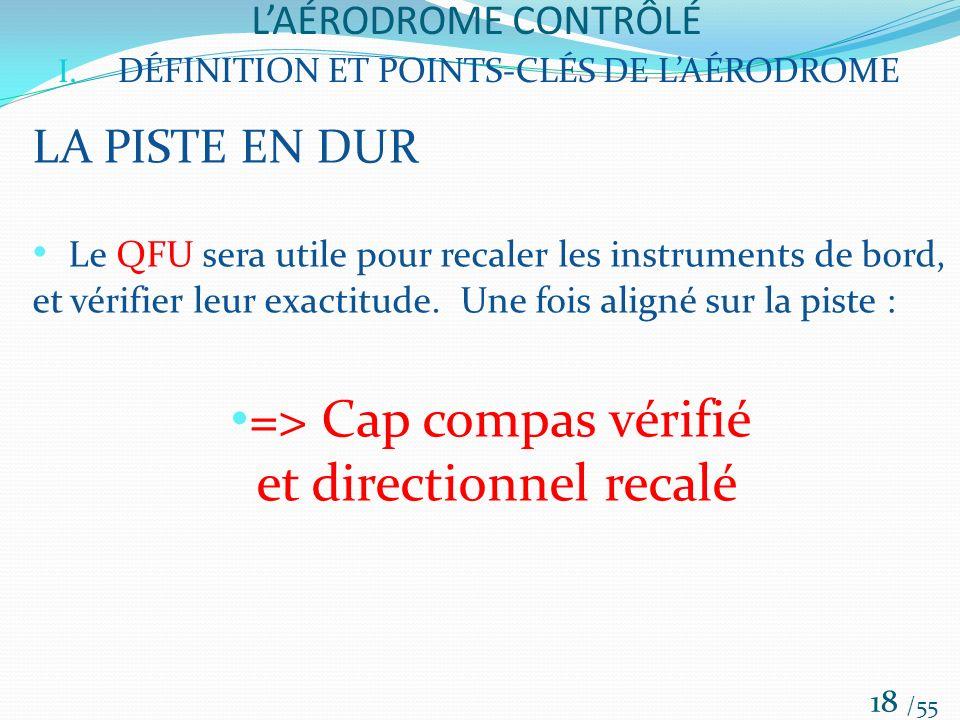 LAÉRODROME CONTRÔLÉ /55 18 I. DÉFINITION ET POINTS-CLÉS DE LAÉRODROME LA PISTE EN DUR Le QFU sera utile pour recaler les instruments de bord, et vérif
