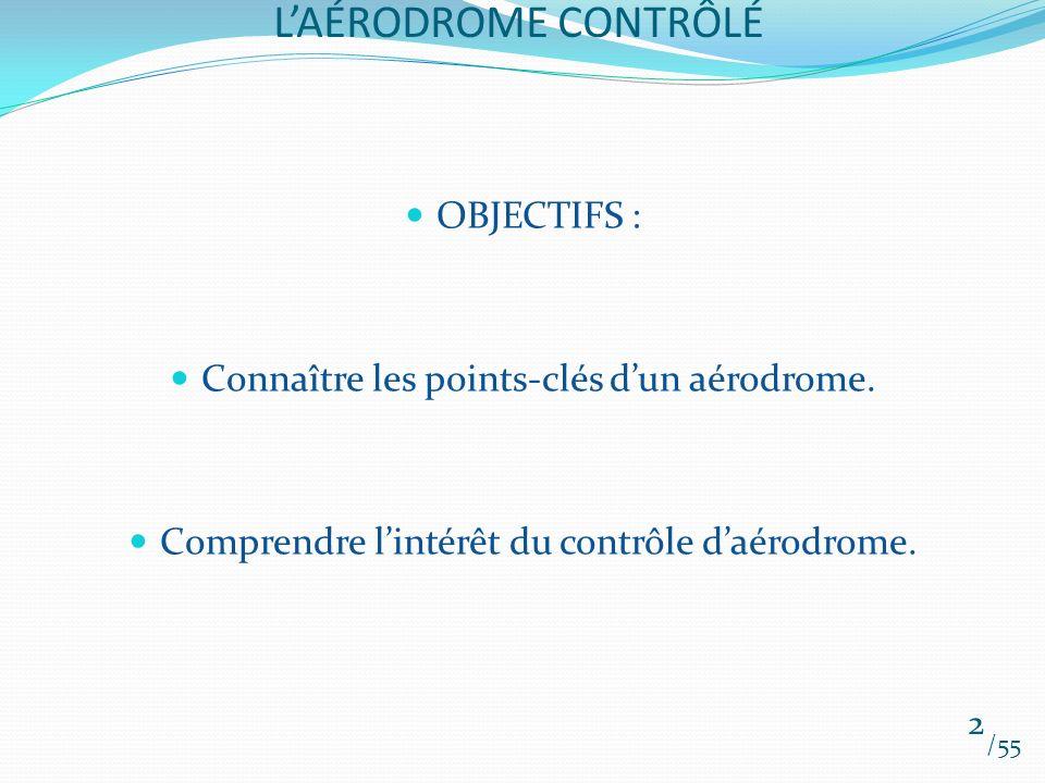 LAÉRODROME CONTRÔLÉ OBJECTIFS : Connaître les points-clés dun aérodrome. Comprendre lintérêt du contrôle daérodrome. 2 /55