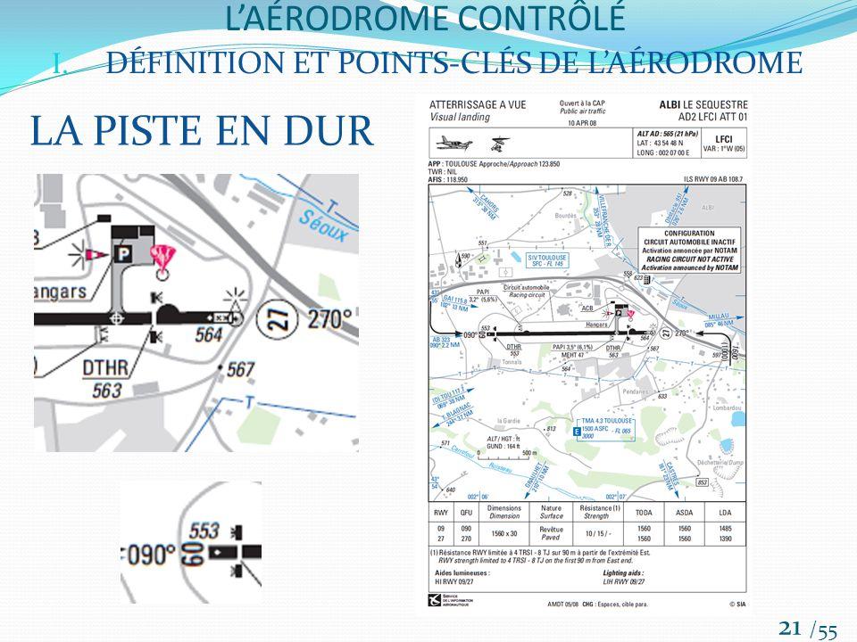 LAÉRODROME CONTRÔLÉ /55 21 I. DÉFINITION ET POINTS-CLÉS DE LAÉRODROME LA PISTE EN DUR
