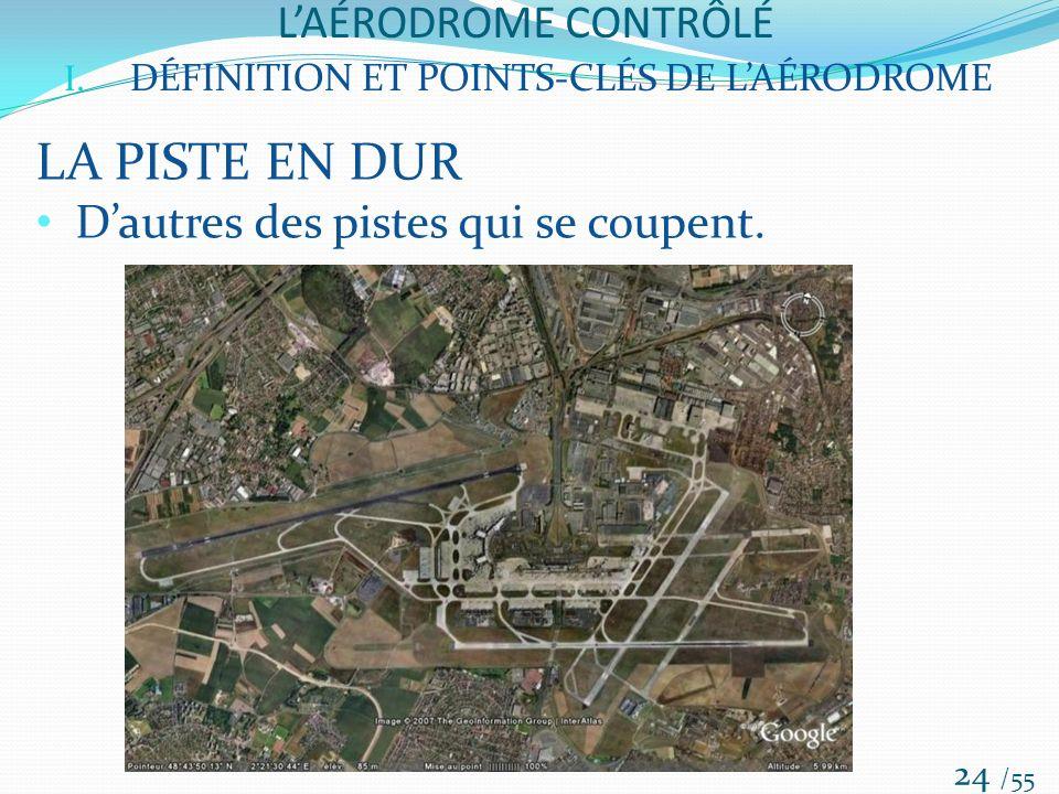 LAÉRODROME CONTRÔLÉ /55 24 I. DÉFINITION ET POINTS-CLÉS DE LAÉRODROME LA PISTE EN DUR Dautres des pistes qui se coupent.