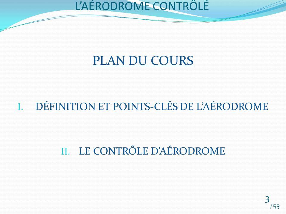 LAÉRODROME CONTRÔLÉ /55 3 PLAN DU COURS I. DÉFINITION ET POINTS-CLÉS DE LAÉRODROME II. LE CONTRÔLE DAÉRODROME