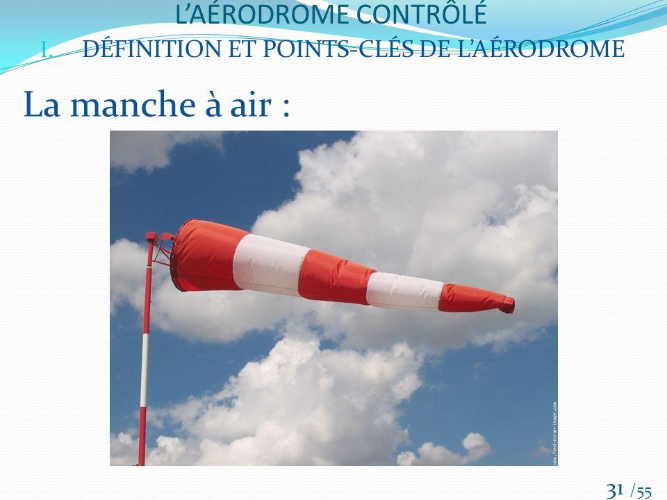 LAÉRODROME CONTRÔLÉ /55 31 I. DÉFINITION ET POINTS-CLÉS DE LAÉRODROME La manche à air :