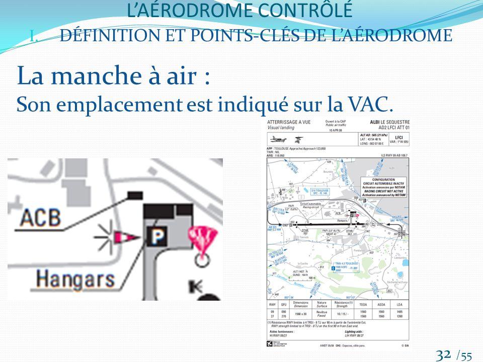 LAÉRODROME CONTRÔLÉ /55 32 I. DÉFINITION ET POINTS-CLÉS DE LAÉRODROME La manche à air : Son emplacement est indiqué sur la VAC.