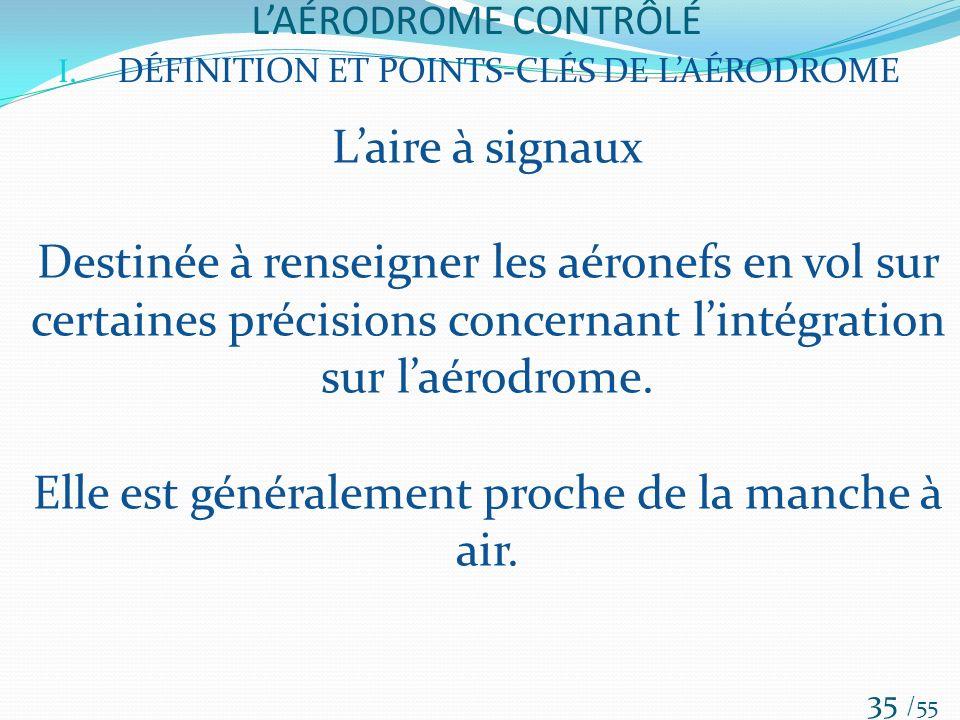 LAÉRODROME CONTRÔLÉ /55 35 I. DÉFINITION ET POINTS-CLÉS DE LAÉRODROME Laire à signaux Destinée à renseigner les aéronefs en vol sur certaines précisio