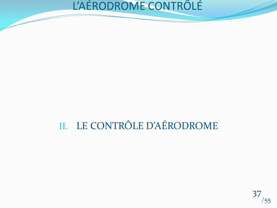 LAÉRODROME CONTRÔLÉ /55 37 II. LE CONTRÔLE DAÉRODROME