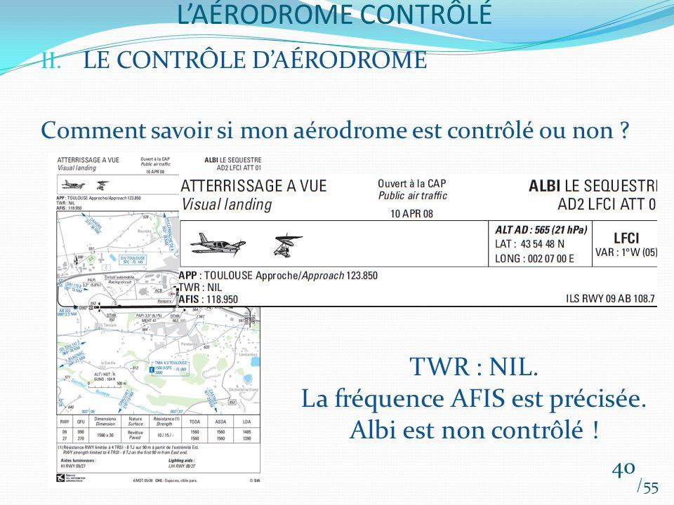LAÉRODROME CONTRÔLÉ /55 40 II. LE CONTRÔLE DAÉRODROME Comment savoir si mon aérodrome est contrôlé ou non ? TWR : NIL. La fréquence AFIS est précisée.