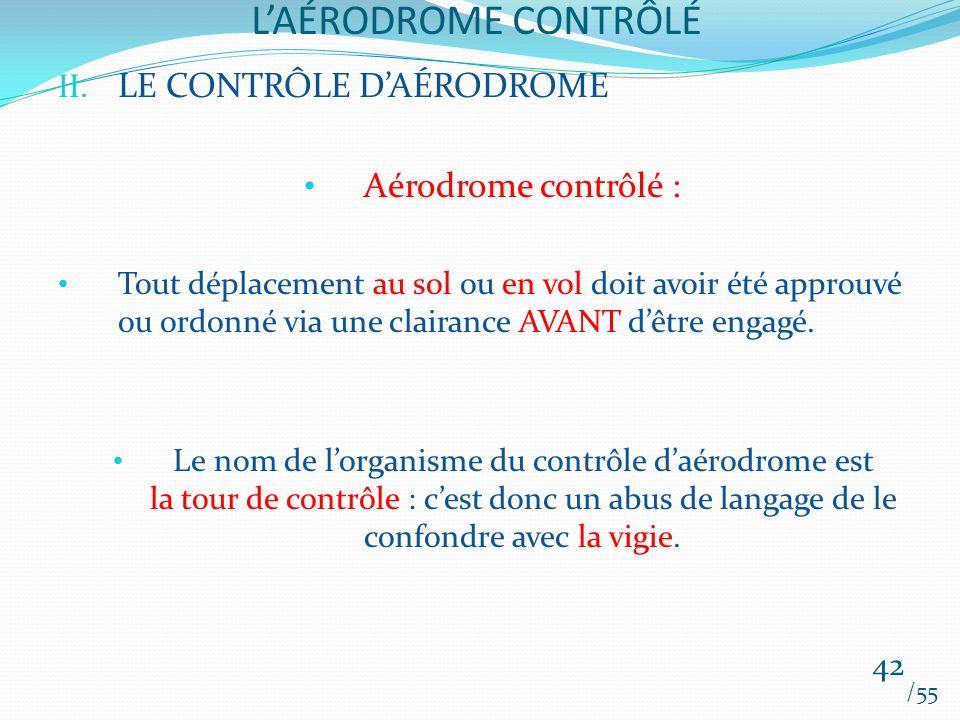 LAÉRODROME CONTRÔLÉ /55 42 II. LE CONTRÔLE DAÉRODROME Aérodrome contrôlé : Tout déplacement au sol ou en vol doit avoir été approuvé ou ordonné via un