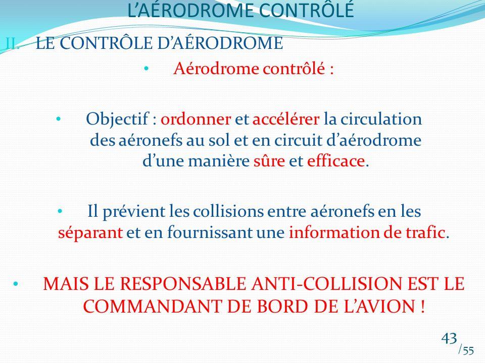 LAÉRODROME CONTRÔLÉ /55 43 II. LE CONTRÔLE DAÉRODROME Aérodrome contrôlé : Objectif : ordonner et accélérer la circulation des aéronefs au sol et en c