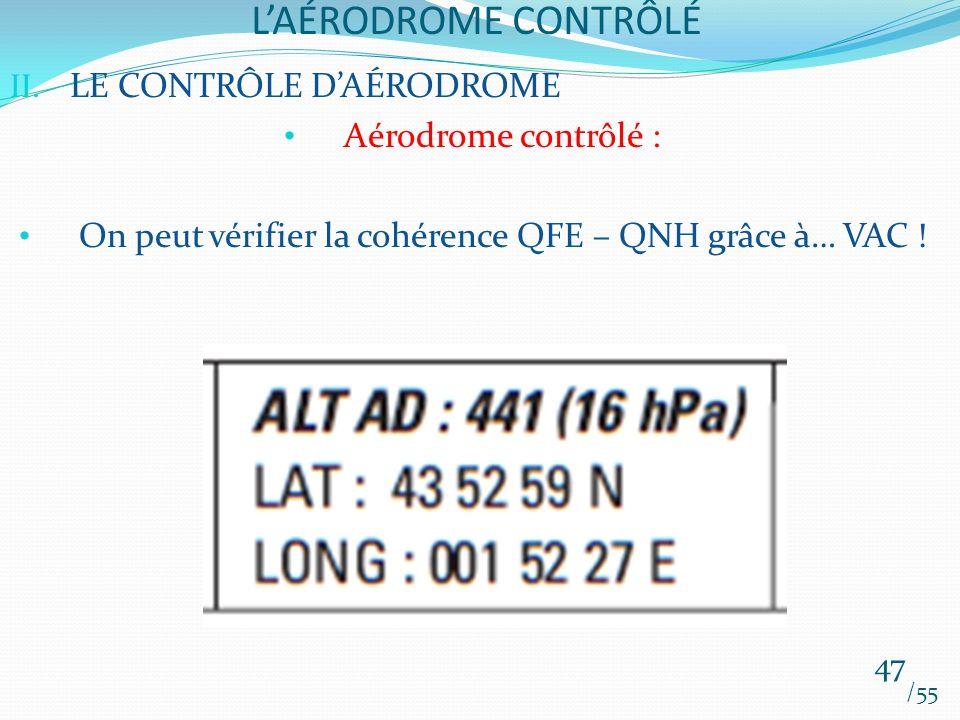 LAÉRODROME CONTRÔLÉ /55 47 II. LE CONTRÔLE DAÉRODROME Aérodrome contrôlé : On peut vérifier la cohérence QFE – QNH grâce à… VAC !