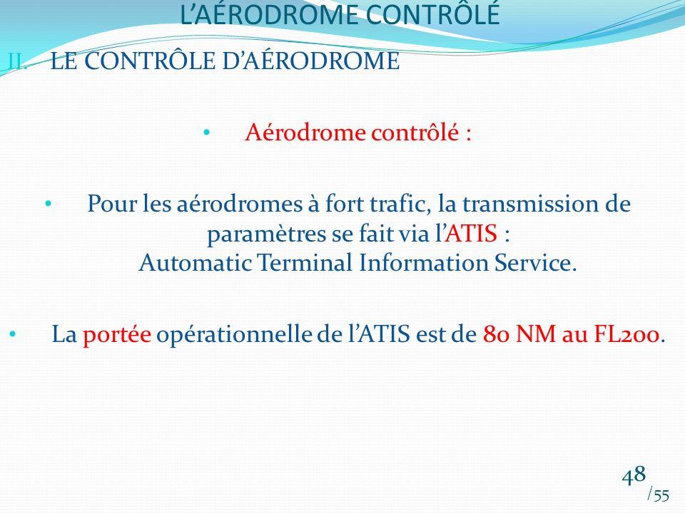 LAÉRODROME CONTRÔLÉ /55 48 II. LE CONTRÔLE DAÉRODROME Aérodrome contrôlé : Pour les aérodromes à fort trafic, la transmission de paramètres se fait vi