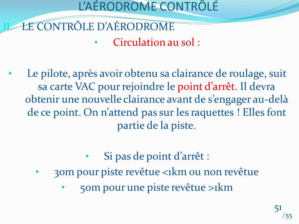 LAÉRODROME CONTRÔLÉ /55 51 II. LE CONTRÔLE DAÉRODROME Circulation au sol : Le pilote, après avoir obtenu sa clairance de roulage, suit sa carte VAC po