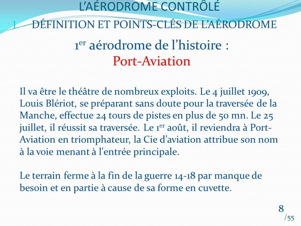 LAÉRODROME CONTRÔLÉ /55 8 I. DÉFINITION ET POINTS-CLÉS DE LAÉRODROME 1 er aérodrome de lhistoire : Port-Aviation Il va être le théâtre de nombreux exp