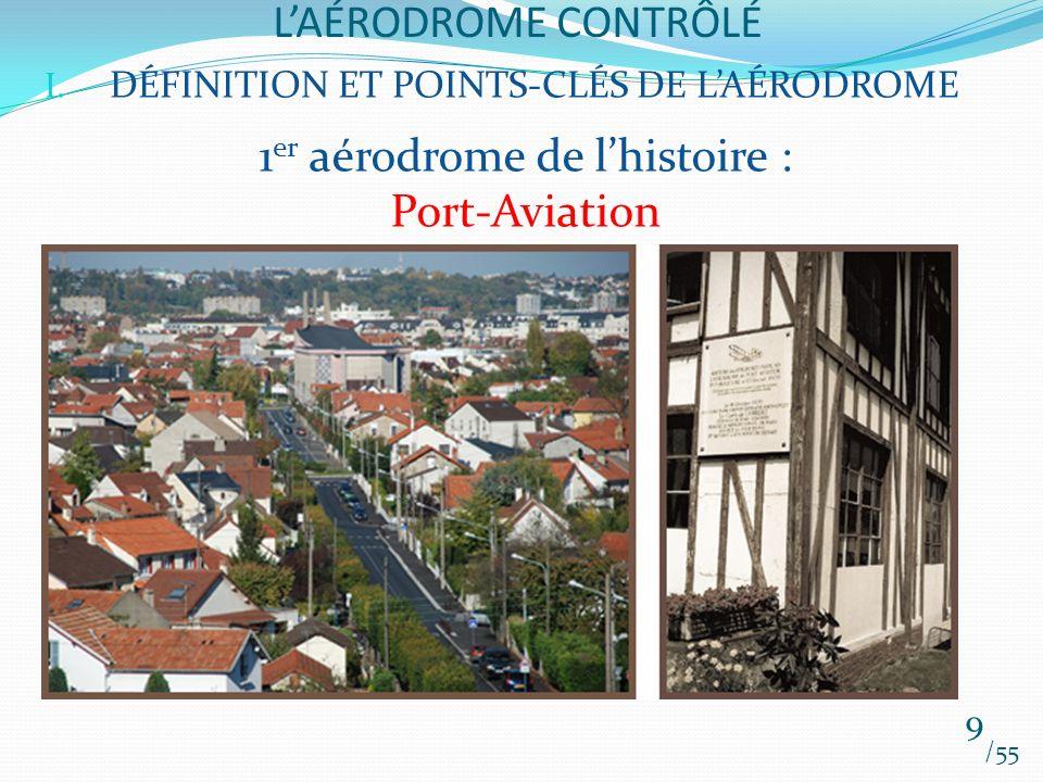 LAÉRODROME CONTRÔLÉ /55 9 I. DÉFINITION ET POINTS-CLÉS DE LAÉRODROME 1 er aérodrome de lhistoire : Port-Aviation