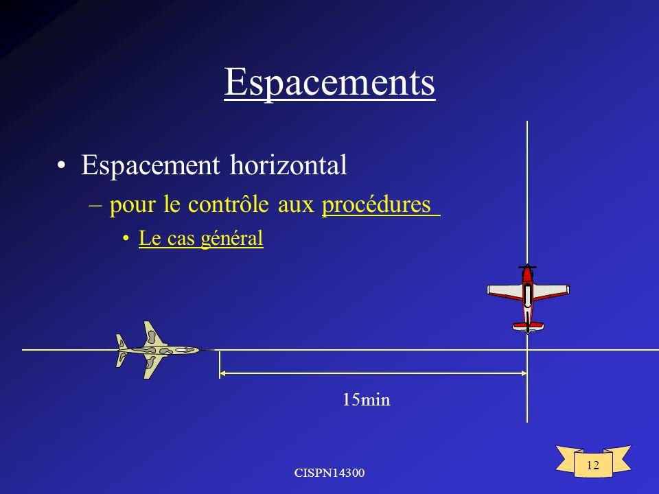 CISPN14300 12 Espacements Espacement horizontal –pour le contrôle aux procédures Le cas général 15min