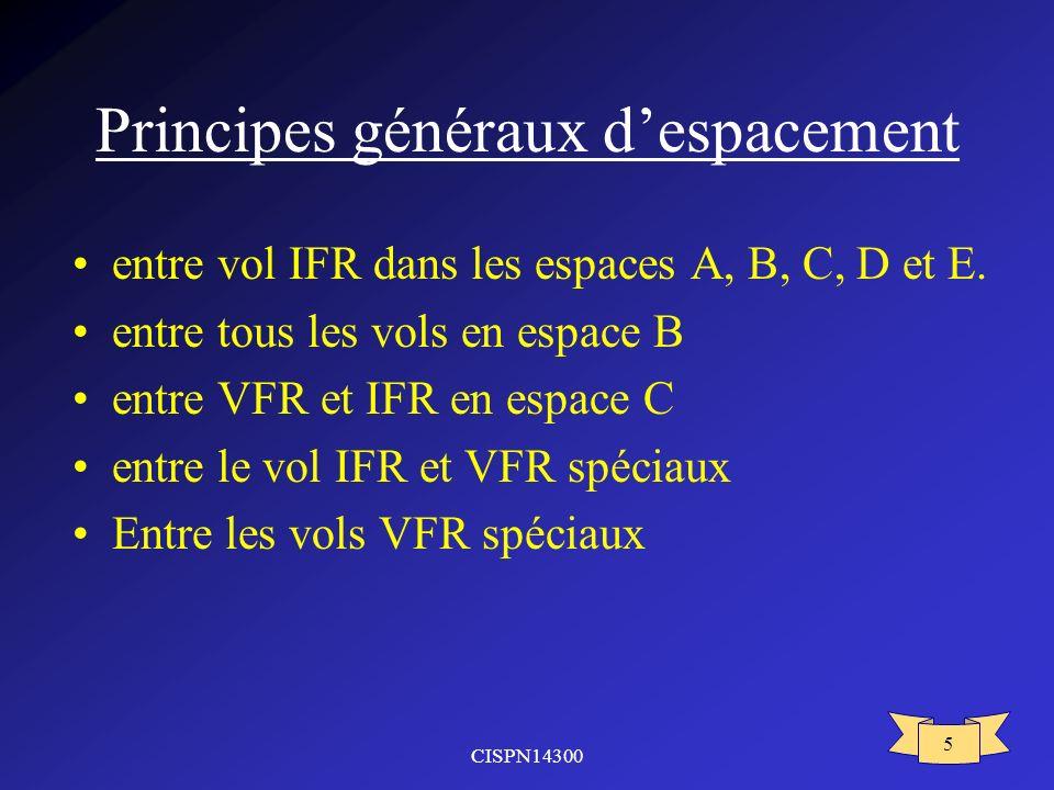 CISPN14300 5 Principes généraux despacement entre vol IFR dans les espaces A, B, C, D et E.