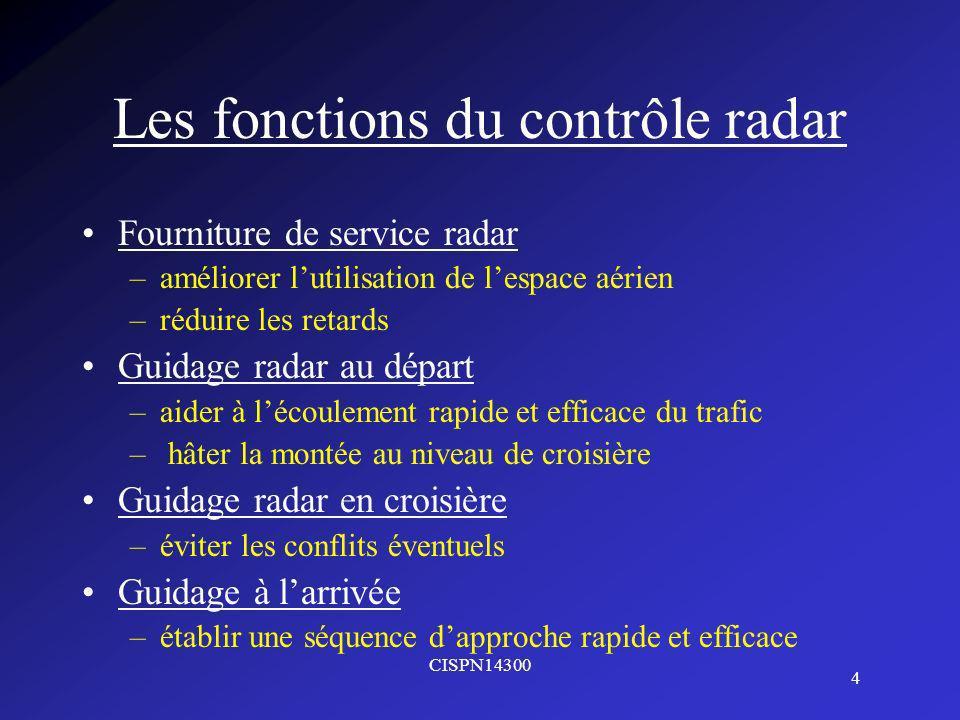CISPN14300 4 Les fonctions du contrôle radar Fourniture de service radar –améliorer lutilisation de lespace aérien –réduire les retards Guidage radar