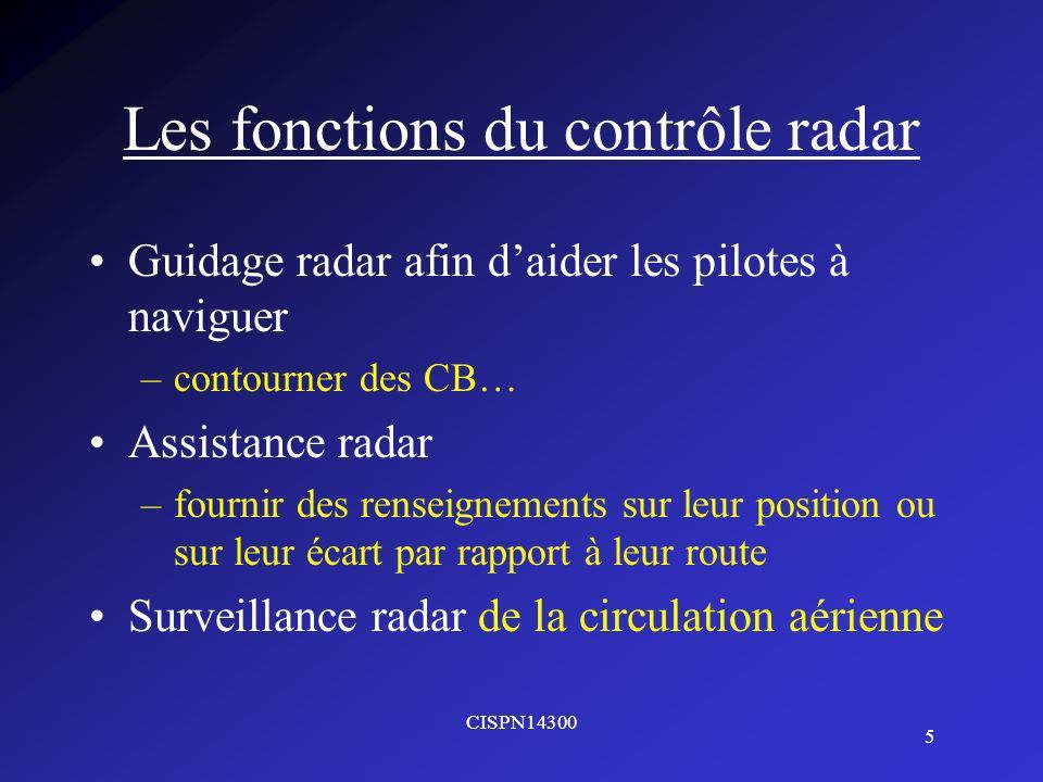 CISPN14300 5 Les fonctions du contrôle radar Guidage radar afin daider les pilotes à naviguer –contourner des CB… Assistance radar –fournir des renseignements sur leur position ou sur leur écart par rapport à leur route Surveillance radar de la circulation aérienne