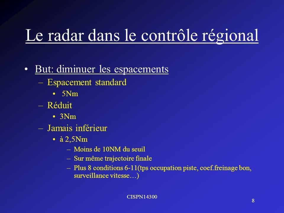 CISPN14300 8 Le radar dans le contrôle régional But: diminuer les espacements –Espacement standard 5Nm –Réduit 3Nm –Jamais inférieur à 2,5Nm –Moins de 10NM du seuil –Sur même trajectoire finale –Plus 8 conditions 6-11(tps occupation piste, coef.freinage bon, surveillance vitesse…)