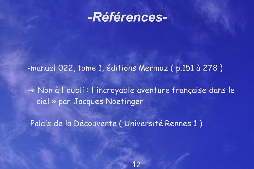 -Références- -manuel 022, tome 1, éditions Mermoz ( p.151 à 278 ) -« Non à l'oubli : l'incroyable aventure française dans le ciel » par Jacques Noetin