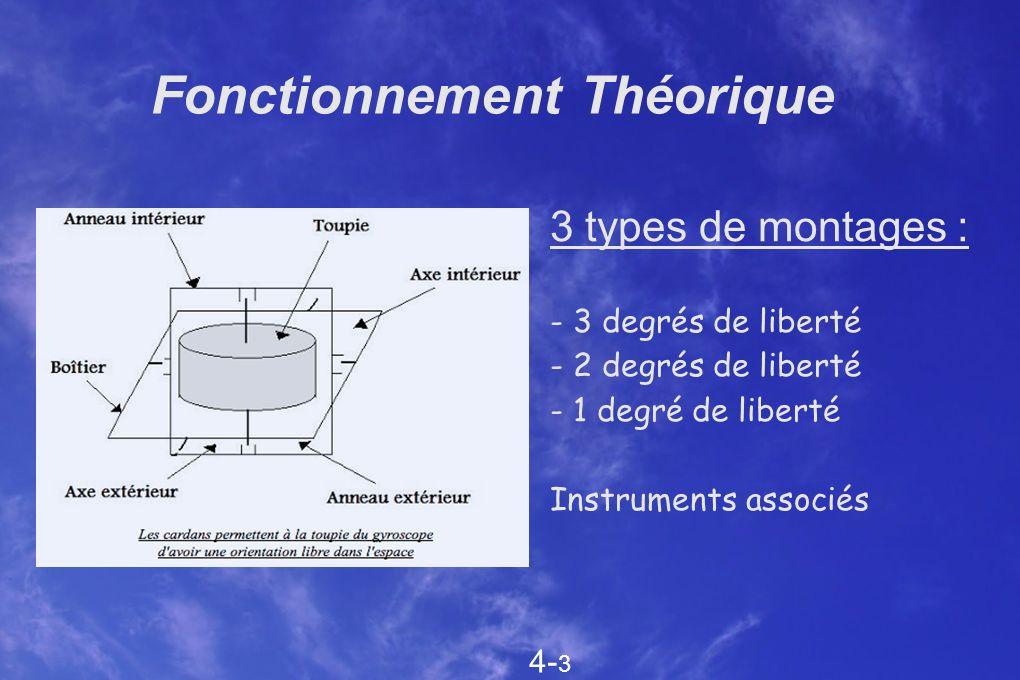 Fonctionnement Théorique 3 types de montages : - 3 degrés de liberté - 2 degrés de liberté - 1 degré de liberté Instruments associés 4- 3