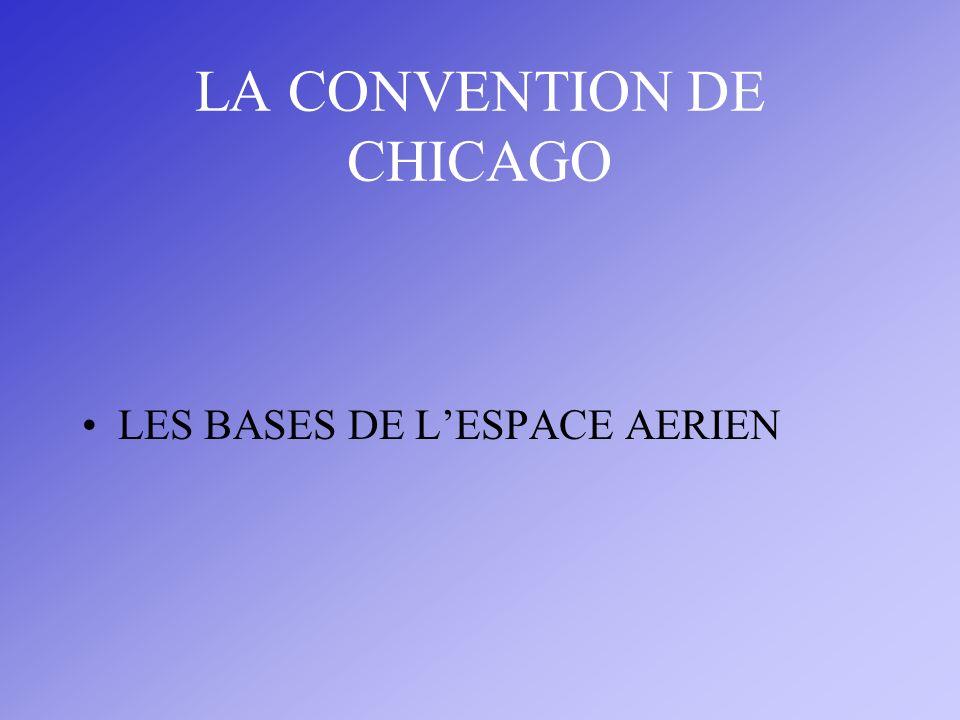 LA NAVIGATION AERIENNE L ESPACE AERIEN Souveraineté des États sur leur espace aérien Principe La convention de Chicago pose les bases de la coopération entre États pour favoriser le développement du transport aérien international.