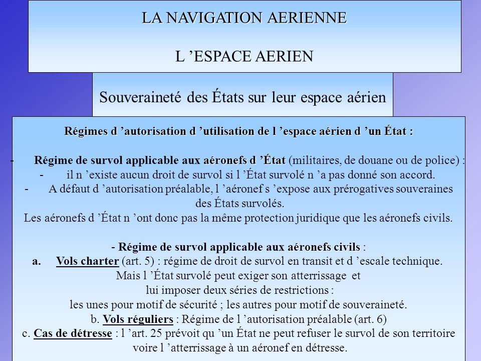 LA NAVIGATION AERIENNE L ESPACE AERIEN Souveraineté des États sur leur espace aérien Zones où le survol est restreint ou interdit Chaque État (art.