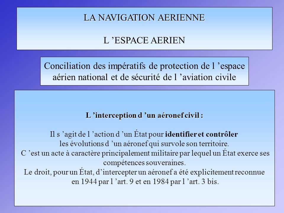 LA NAVIGATION AERIENNE L ESPACE AERIEN Conciliation des impératifs de protection de l espace aérien national et de sécurité de l aviation civile Les règles de l article 3bis -(a.