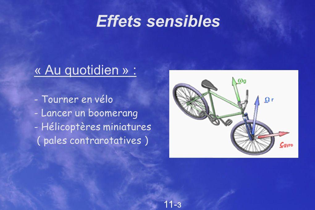 Effets sensibles « Au quotidien » : - Tourner en vélo - Lancer un boomerang - Hélicoptères miniatures ( pales contrarotatives ) 11- 3