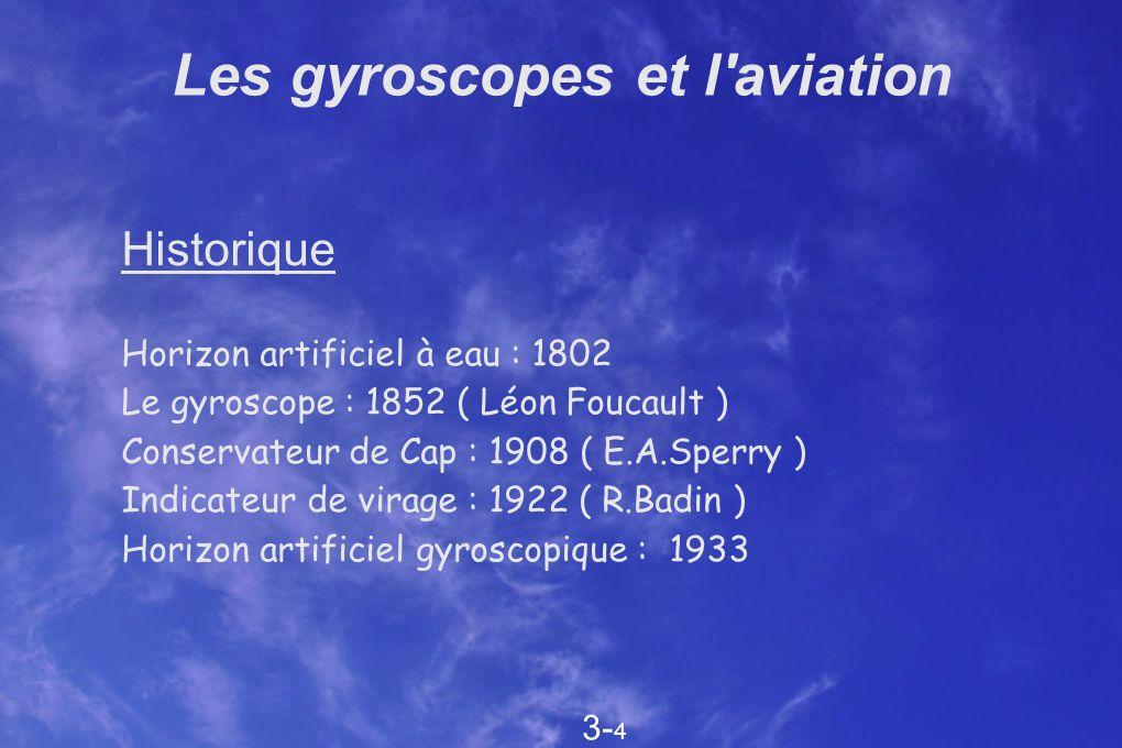 Les gyroscopes et l'aviation Historique Horizon artificiel à eau : 1802 Le gyroscope : 1852 ( Léon Foucault ) Conservateur de Cap : 1908 ( E.A.Sperry