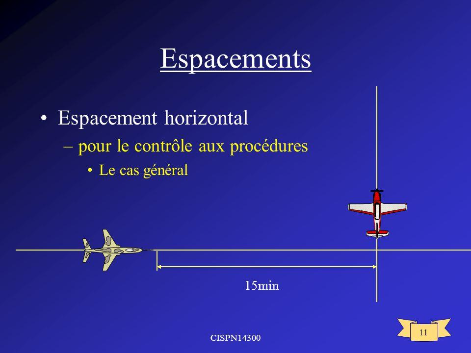 CISPN14300 11 Espacements Espacement horizontal –pour le contrôle aux procédures Le cas général 15min