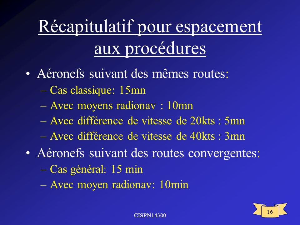 CISPN14300 16 Récapitulatif pour espacement aux procédures Aéronefs suivant des mêmes routes: –Cas classique: 15mn –Avec moyens radionav : 10mn –Avec