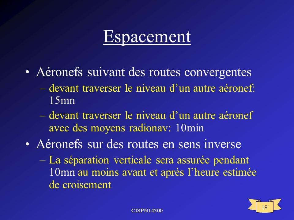 CISPN14300 19 Espacement Aéronefs suivant des routes convergentes –devant traverser le niveau dun autre aéronef: 15mn –devant traverser le niveau dun