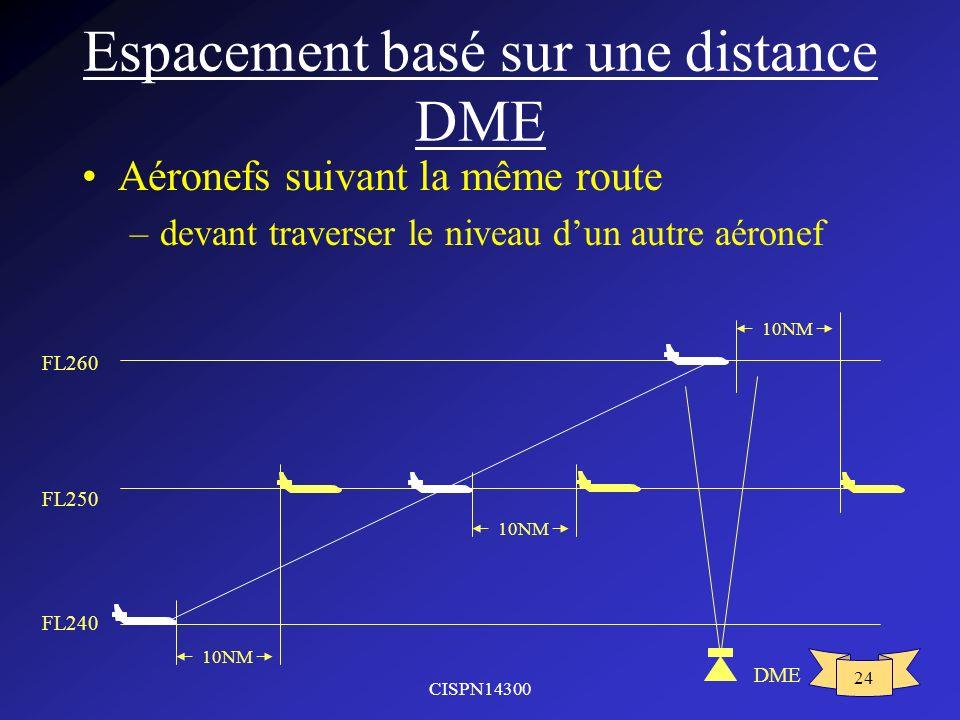 CISPN14300 24 Espacement basé sur une distance DME Aéronefs suivant la même route –devant traverser le niveau dun autre aéronef FL250 FL260 FL240 10NM DME