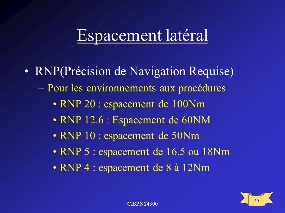 CISPN14300 25 Espacement latéral RNP(Précision de Navigation Requise) –Pour les environnements aux procédures RNP 20 : espacement de 100Nm RNP 12.6 : Espacement de 60NM RNP 10 : espacement de 50Nm RNP 5 : espacement de 16.5 ou 18Nm RNP 4 : espacement de 8 à 12Nm