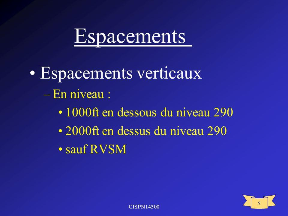 CISPN14300 5 Espacements Espacements verticaux –En niveau : 1000ft en dessous du niveau 290 2000ft en dessus du niveau 290 sauf RVSM
