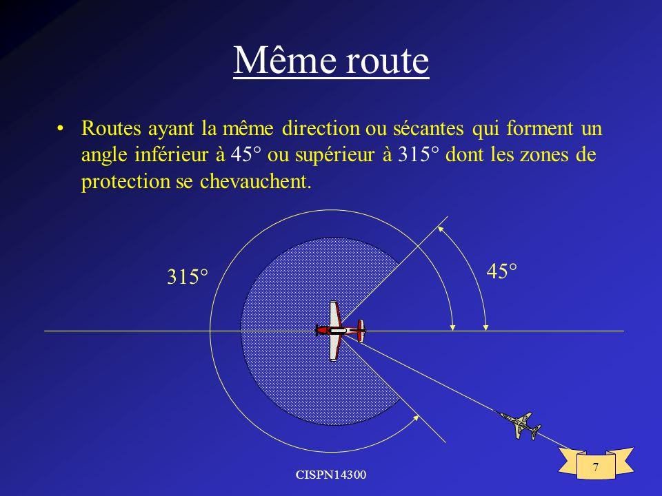 CISPN14300 7 Même route Routes ayant la même direction ou sécantes qui forment un angle inférieur à 45° ou supérieur à 315° dont les zones de protecti