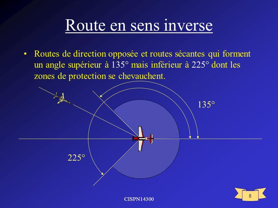 CISPN14300 8 Route en sens inverse Routes de direction opposée et routes sécantes qui forment un angle supérieur à 135° mais inférieur à 225° dont les