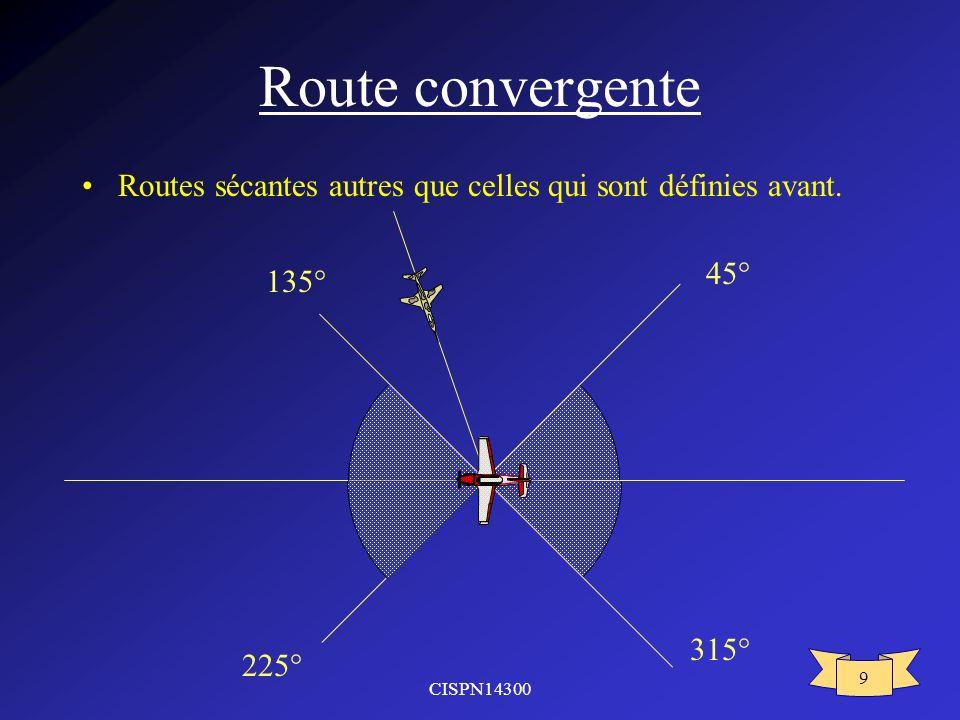 CISPN14300 9 Route convergente Routes sécantes autres que celles qui sont définies avant. 315° 45° 225° 135°
